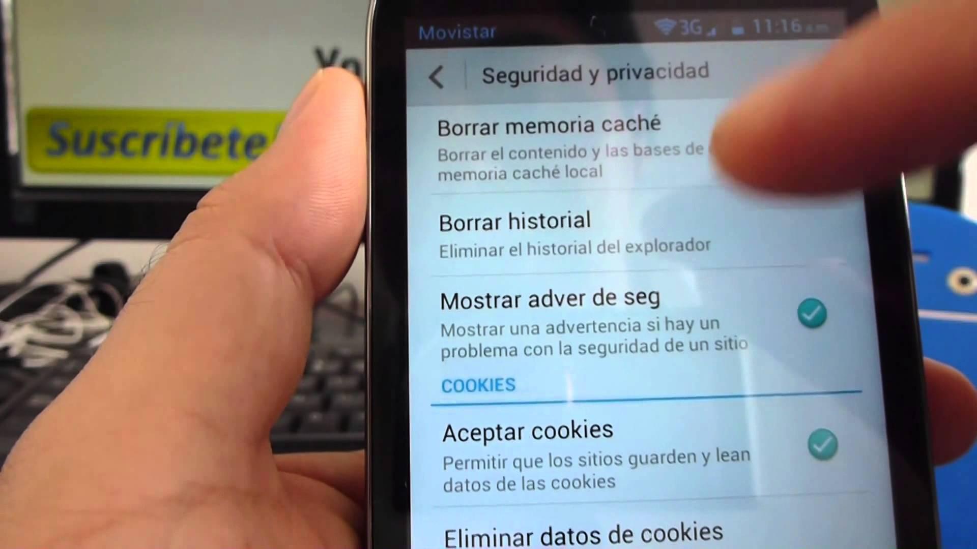 borrar el historial navegación en android