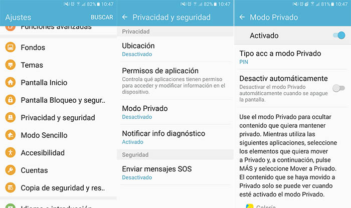 Activar modo privado Galaxy S7