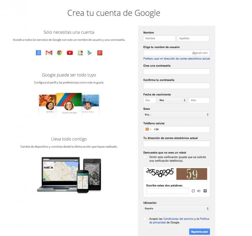 Crear cuenta Google Play Store 1