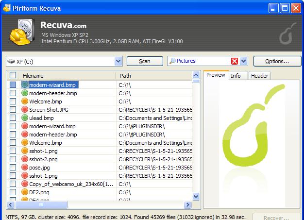 Recuperar archivos borrados del ordenador