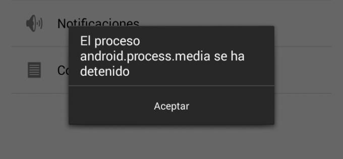 android.process.media se detuvo